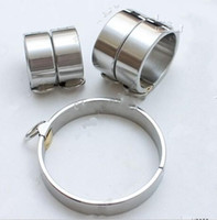 Wholesale 5Pcs set Ellipse Stainless Steel Heavy Duty Oval Shaped handcuffs anklet collar with Brass Lock Joints Suit BDSM bondage set sex toys