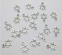 Wholesale Hot Sale pc Tibetan silver quot Star of David quot Kabbalah Dangle Beads Fit European Charm Bracelet x mm