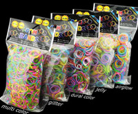 Hair Rubber Bands Silicone  Wholesale - Quality Loom Bands Glitter Jelly Glow in the dark  Dual Color Multi Color Rubber Bands Loom Band Wrist Bracelet (600 bands + 24