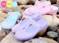 Men the packaging of shoes - Package post hole hole shoes in the summer of the new Mary Jane flat sandals slippers color slippery jelly shoes beach