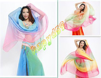 Belly Dancing new new 1pcs belly dance sari veil gradient scarf imitation silk hand throwing sand yarn indian dance big thrown yarn shawl props 11color choosing