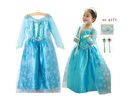 Wholesale 2014 New Arrival Frozen Girls Summer Dress Frozen Costume Princess Dress Sequined Cosplay Costume Anna amp Elsa Lace Baby Dress Kids Party Wear
