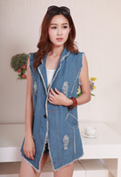Wholesale 2014 hole cowgirl denim vest waistcoat vest long paragraph long section of street in Europe and America a buckle collar suit