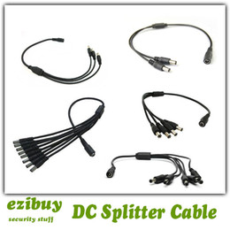 Wholesale dc v female to way male power splitter wire cable for cctv camera led strip etc DHL