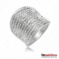 With Side Stones Fashion Rings Top Fashion Punk-Pop Multi-layer Engagement Rings With Platinum Plating Czech Crystals Punk Jewelry Ri-HQ0169