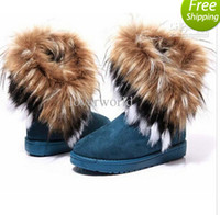 Wholesale Fashion Rabbit hair and Fox Fur In tube Color matching warm snow winter boots for women ladies FJE8473