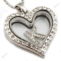 Lockets Bohemian Unisex J00081 heart shape magnetic glass floating charms locket with stainless steel chain