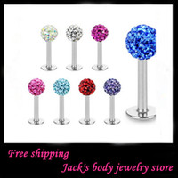 Wholesale Body jewelry L24 Mix Colors Body Piercing Jewelry Shamballa Disco Ball labret stud labret jewelry