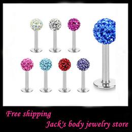Wholesale Body jewelry L24 Mix Colors Body Piercing Jewelry Shamballa Disco Ball labret stud labret jewelry
