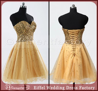 Reference Images short sparkly prom dresses - Hot Sales Homecoming Dresses Cute Sweetheart Neck Sparkly Bodice Short Puffy Skirt Lace up Gold Prom Party Dresses