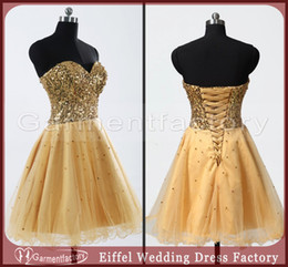 Wholesale Gold Homecoming Dresses Cute Sweetheart Neck Sparkly Bodice Puffy Skirt Corset Prom Dresses Sequins Tulle Short Party Dresses