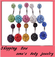 Wholesale Piercing jewelry B01 mix colors mm amp mm Crystal Disco Ball amp Surgical Stainless Steel Belly Button Navel Ring Body Piercing