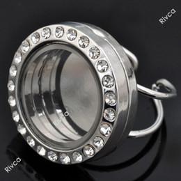 J00084 adjustable size glass floating charm locket ring rhinestone locket size 25x17mm,ring size 18-20mm