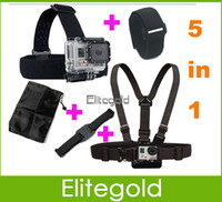 Wholesale Gopro Accessories Chest Belt WiFi Remote Wrist Belt Head Strap Mount Helmet Strap Bag For Gopro Hero3 Set
