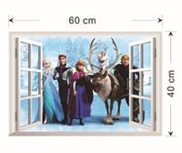 Wholesale Free EMS In Stock Elsa Anna PRINCESS D Window View Cartoon Decal WALL STICKER PVC Home Decor X60cm