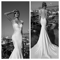 Trumpet/Mermaid Reference Images Sweetheart Galia Lahav Sexy Sweetheart Vintage Wedding Dresses with Illusion Back Lace Appliqued Long Train Bridal Gowns Dress 2015 New Arrival D625