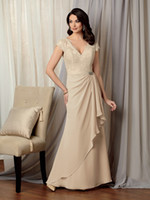 Reference Images V-Neck Chiffon 2014 V Neck Cap Sleeves Champagne Lace Drapped Chiffon Mother of the Bride Dresses Vintage Prom Formal Gown Dress