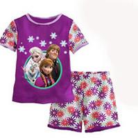Girl Summer Short 2014 new Frozen Princess children's clothing sets cut cartoon girls pajama sets toddler baby kids short sleeve suit