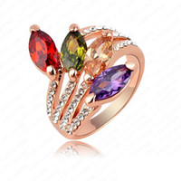 With Side Stones Fashion Rings High Quality 18K Rose Gold Plating Ring Fashion Leaf Shape Engagement Ring The Bride Ring With Governor Crystals Costume Jewelry