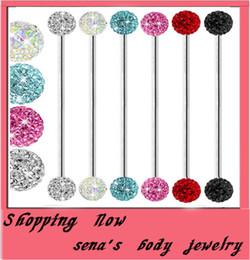 Wholesale T25 ear Piercing mix color G double ferido CZ crystal ball industrial Earring barbell Body Piercing jewelry