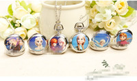 Wholesale In Stock Kids Cute Necklace Pocket Watch Children Girl Lovely Snow Queen Olaf Ceram Clothes Chain Silver High Quality H0947