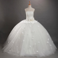 Wholesale 2014 White Flower Girls Dresses Strapless Pleated Flower Tulle Ball Gown Floor Length Little Girls Pageant Dresses Lovely Party Gowns BO5549