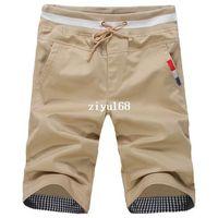 Wholesale 2014 New beach pants knee length Men s Short Pants spring summer breeches Cotton Trousers big size M XL black white red khaki