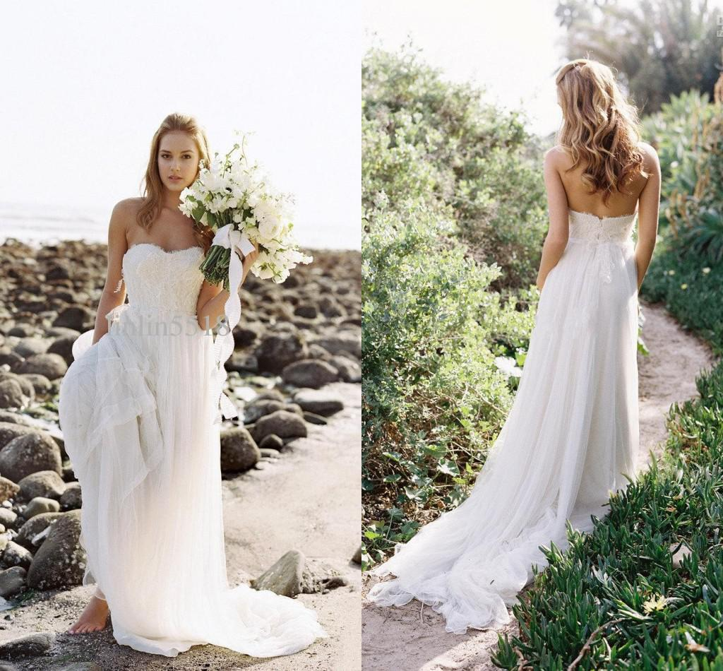 Discount 2015 flowing beach wedding dresses tulle court for Flowing beach wedding dresses
