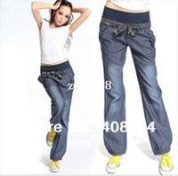 Wholesale The new loose denim women pants with belt wide leg s bloomers elastic waist bow trousers for women