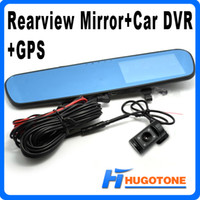 Wholesale New Arrival Dual Lens Blue Mirror Car DVR With GPS Full HD1080P Car DVR Rearview Mirror Infrared Parking Backup Camera G sensor PIP H