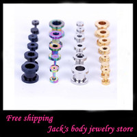 Wholesale Piercing jewelry 128pcs Mix mm Size Mix Color Body Piercing Jewelry Stainless Steel Rainbow Flesh Tunnel Ear Tunnel F01