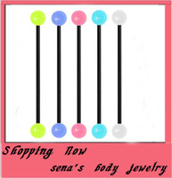 Wholesale T15 industrial barbell mix color mm long G acrylic glow in dark long tongue ring