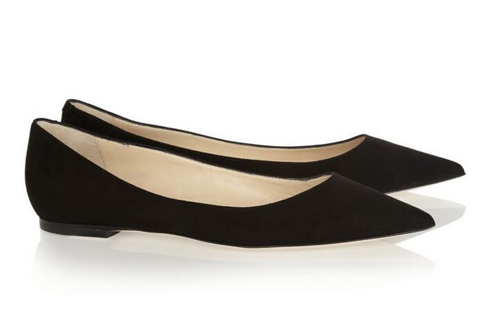 Flat Black Pointed Bellerina Shoes