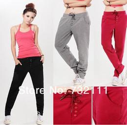 Wholesale Fashion Korean Style Women Casual Drawstring Sweatpant Sports Harem Pants Yoga Wide Leg Palazzo Trousers s Gym Clothes