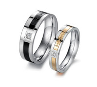 Wholesale High quality Lover s Rings jewelled exquisite gift shining crystal titanium stainless steel rings Endless Love jewelry couples rings