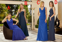 Reference Images Ruched Sleeveless 2014 New Arrival Mismatch Bridesmaid Dresses Ronald Joyce Blue Navy Chiffon V Neckline Sweetheart Beaded Draped Maid Of Honor Dresses