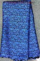 Wholesale by DHL Latest design high end African lace water soluble lace fabric Royal blue French net lace fabric for dress