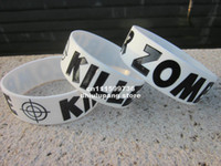 Jelly, Glow Other Unisex Hot-selling! Zombie Killer Glow In The Dark bracelets,silicon Wristband,promotion gift, silicon band,50pcs lot,Free Shipping