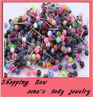 Wholesale CF213 Tongue Ring bar mix color uv acrylic body piercing jewelry print ball tongue barbell ring