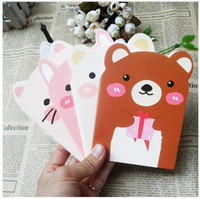 Notes bear greeting cards - Pig bear tiger rabbit four cartoon suture line of the car Notepad Notebook Korea South Korea stationery gift stationery