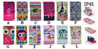 For Apple iPhone Leather  Tribal Owl Bird Pattern Credit ID Card Slot Wallet Leather Stand Case Cover For Apple iphone 4 4s 5 5S 5C Free DHL Shipping