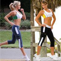 Wholesale Women New Capri Running yoga Sport Pants High Waist Cropped Leggings Fitness