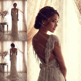 Wholesale 2014 High Quality Vintage Sheer Sheath Wedding Dresses Anna Campbell Lace Backless Beach Evening Wedding Dresses Cheap Bridal Gowns BO2211