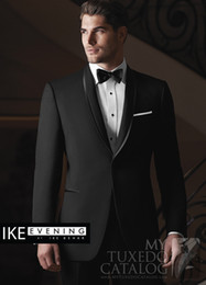 Wholesale 2014 Groom Tuxedos black Best Man Peak Lapel Bridegroom Men Wedding Suits Jacket Pants Bowtie mens wedding tail coat suits
