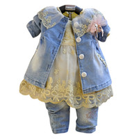 Girl Spring / Autumn Long Baby Girls three Piece Suits High quality Lace collar denim jacket+Print tulle long sleeve dress+Bead flower denim pants 3 pcs kid sets
