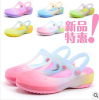 Flat Heel mary jane - new shoes colorful gradient translucent Garden Ms Mary Jane beach sandals