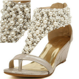 New arrival rhinestone zipper pearl beaded high heels gold beige black flip flops wedges sandals women shoes spring summer
