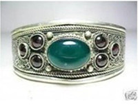 Wholesale Tribe Carved Green JADE Beads Inlay Tibet Silver Unisex Bangle Bracelet Jewelry