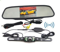 "Cheap 2013 NEW hot best price 4.3"" Car Rewrview Mirror monitor Wireless Car Reversing Camera kit System FREESHIPPING"