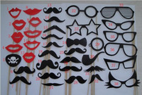 April Fool's Day Event & Party Supplies,Other Festive & P Yes Free Shipping, wholesale NEW product 38 PCS SET MUSTACHE ON A STICK Wedding Party Photography Photo Prop Mask Funny